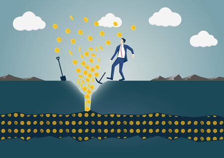 Vector illustration of businessman discovering gold showing wealth and success concept. Stock Illustratie