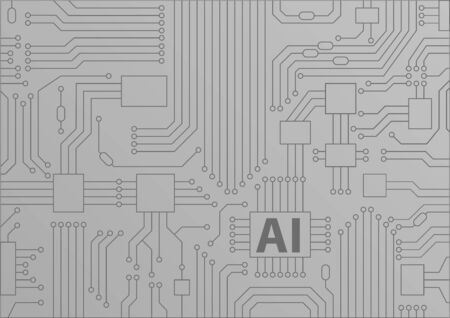Artificial intelligence / AI concept as vector background with CPU / microchips