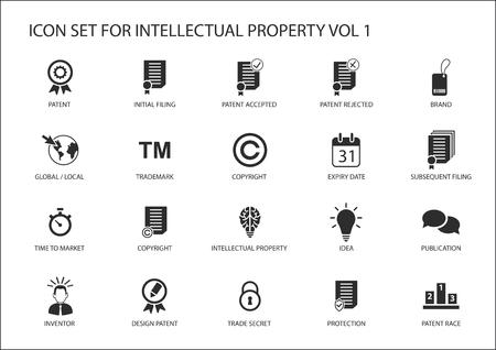 Set di icone di proprietà intellettuale / IP vettoriale. Concetto di brevetti, marchio commerciale e copyright