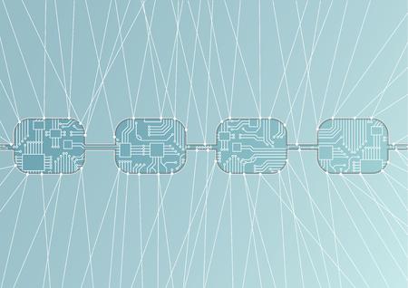 Illustration de concept de modèle de blockchain.