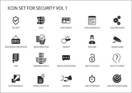 Icone sulla sicurezza dei dati e sulla protezione generale dei dati Vettoriali