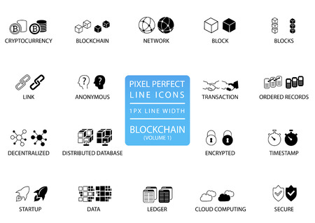 Block chain and cryptocurrency thin line vector icon set. Pixel perfect icons with 1 px line width for optimal app and web usage.