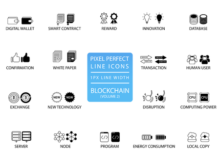 Block chain and cryptocurrency thin line vector icon set. Pixel perfect icons with 1 px line width for optimal app and web usage. Иллюстрация