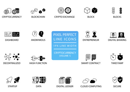 Cryptocurrency (bitcoin, ethereum) thin line vector icon set. Pixel perfect icons with 1 px line width for optimal app and web usage Illustration