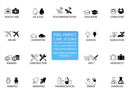 Pixel perfectos iconos y símbolos de líneas finas de varias industrias / sectores empresariales como telecomunicaciones, productos químicos, aeroespacial, automotriz, banca, consultoría