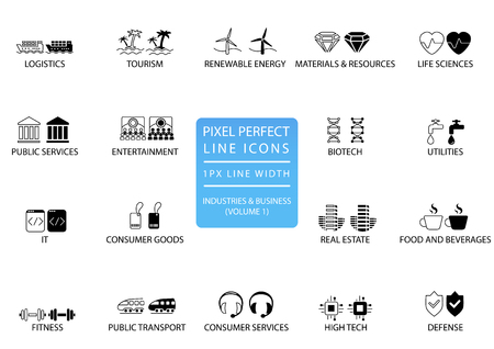 Pixel perfect thin line icons and symbols of various industries  business sectors like public services, consumer goods, defense, life sciences, high tech, resources, IT, logistics.  イラスト・ベクター素材