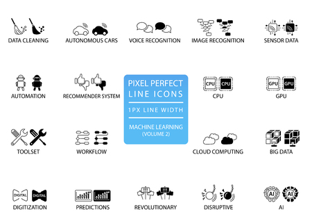 Pixel perfect thin line icons and symbols for machine learning  deep learning  artificial intelligence. Illustration