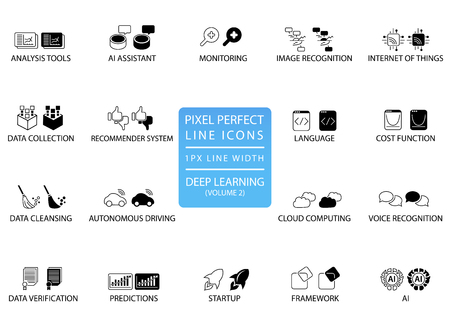 Pixel perfect thin line icons and symbols for deep learning. Illustration