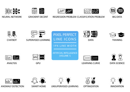 Pixel perfect thin line icons and symbols for artificial intelligence  AI.