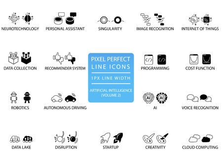 Pixel perfect thin line icons and symbols for artificial intelligence / AI. 向量圖像
