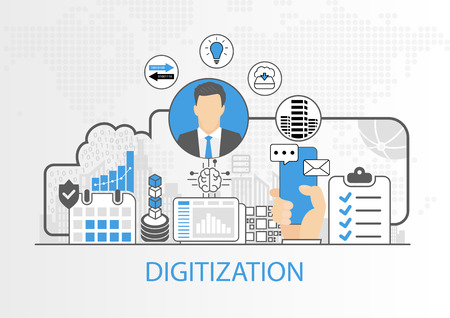 Vector background of businessman and icons for digitization concept Illustration