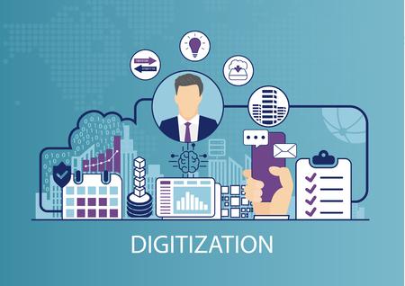 Digitalisering concept als zakelijke vectorillustratie