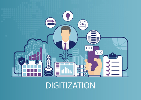Digitization concept as business vector illustration