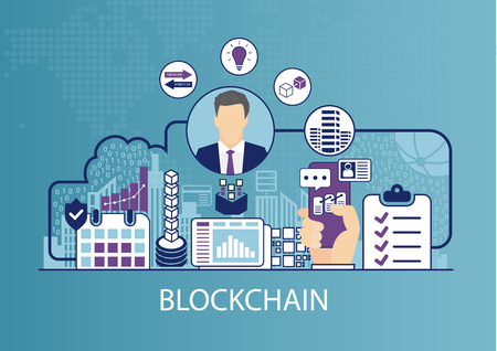 Blockchain concept as business vector illustration