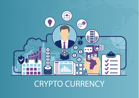 Cryptocurrency concept as business vector illustration