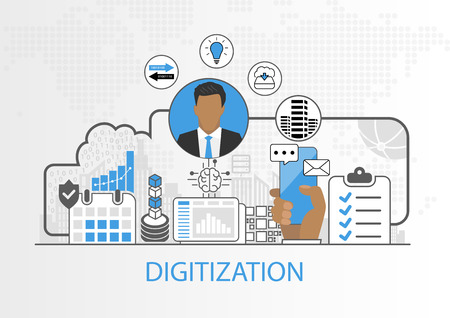 Vector background of businessman and icons for digitization concept Çizim
