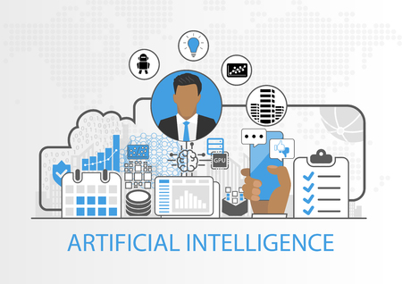Vector background of businessman and artificial intelligence concept
