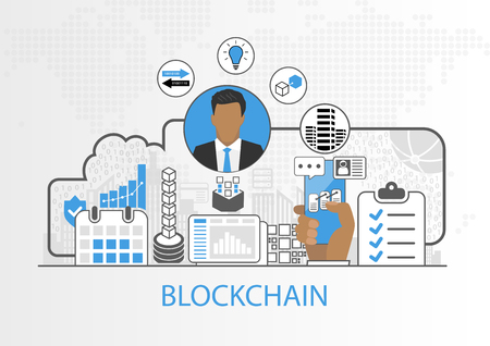 Vector background of businessman and icons for blockchain concept Illustration