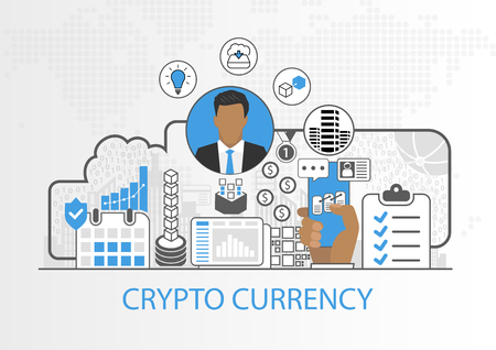 Vector background of businessman and icons for cryptocurrency concept Stock Illustratie