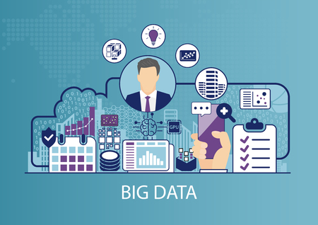 Big data vector illustration with business man and icons.