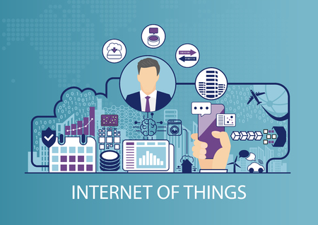 Internet of Things (IOT) vector illustration with business man and icons.