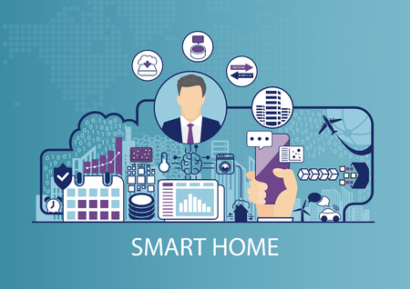 Smart home automation vector illustration with business man and icons. Illustration