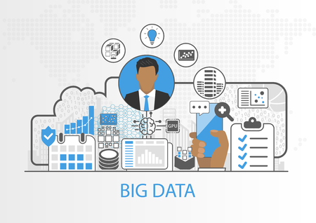 Big data vector background with business man and icons