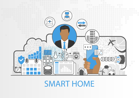 Smart home vector background with business man and connected household appliances Illustration