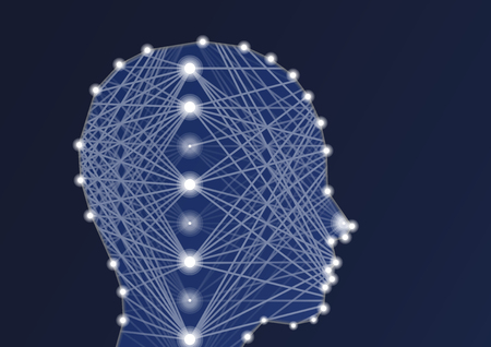 Artificial Intelligence (AI) illustration with deep neural network and silhouette of person