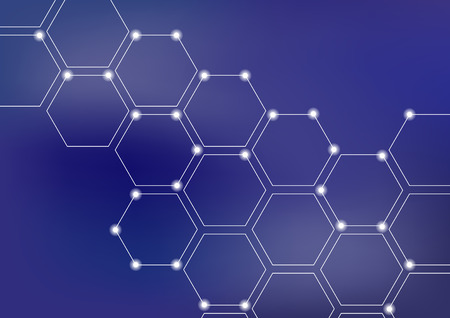 Neural network or blockchain vector illustration background