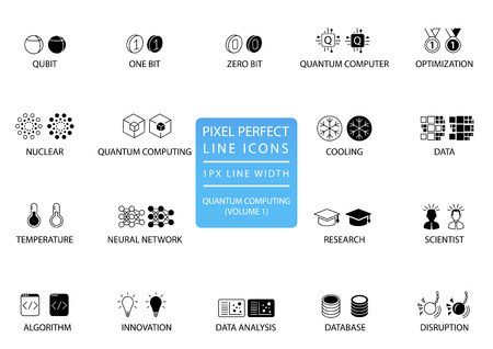 Quantum computing vector icon set optimized for web use Illustration