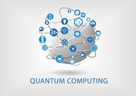 Illustration vectorielle informatique quantique avec monde connecté Vecteurs