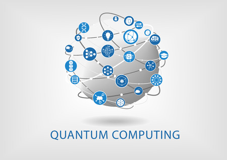 Quantum computing vector illustration with connected world