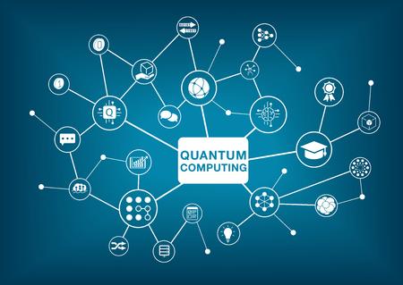 Quantum computing illustration on dark blue background