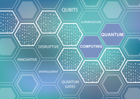 Quantum computing text on the blue-green and blue background as an illustration with hexagonal shapes Illustration