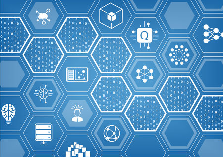 Quantum computing illustration on blue background with hexagonal shapes and icons