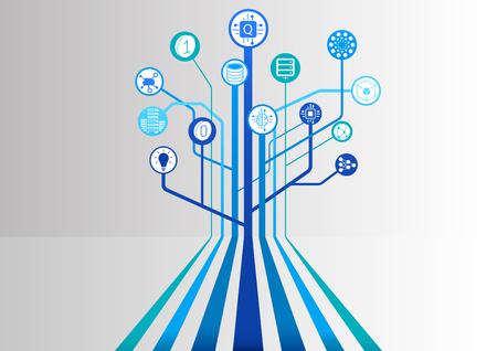 Illustration vectorielle informatique quantique avec des icônes et une structure arborescente se ramifiant