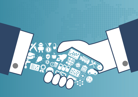 Digitally enabled global trade concept with illustration of handshake between business men.