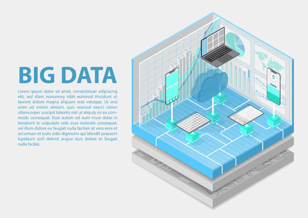Big Data isometric vector illustration. 3D abstract infographic with mobile devices and technology infrastructure