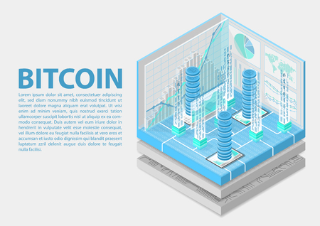 Bitcoin isometric vector illustration. Abstract 3D infographic for financial technology