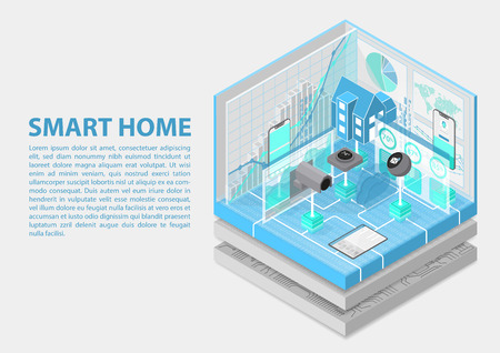 Smart home isometric vector illustration. 3D abstract infographic for home automation related topics