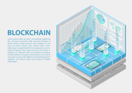 Illustration vectorielle isométrique de la blockchain. Infographie 3D abstraite pour les sujets liés à la blockchain Vecteurs