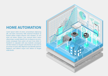 Home automation isometric vector illustration. 3D abstract infographic for home automation related topics Illustration