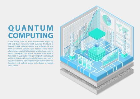 Quantum computing isometric vector illustration. 3D view on conceptual quantum computer Vecteurs