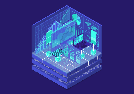 Advanced analytics isometric vector illustration. 3D abstract infographic with mobile devices and data dashboards