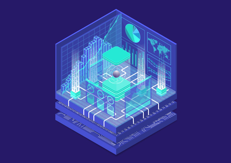 Quantum computing isometric vector illustration. 3D view on conceptual quantum computer  イラスト・ベクター素材
