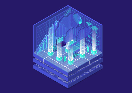 Cloud computing isometric vector illustration. Abstract 3D infographic with mobile devices