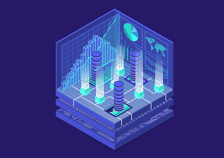 Cryptocurrency isometric vector illustration. Abstract 3D infographic for financial technology