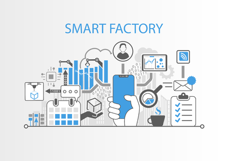 Smart factory concept with hand holding modern bezel free smart phone Illustration