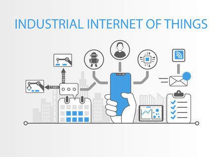 Industrial internet of things concept with hand holding modern bezel free smart phone